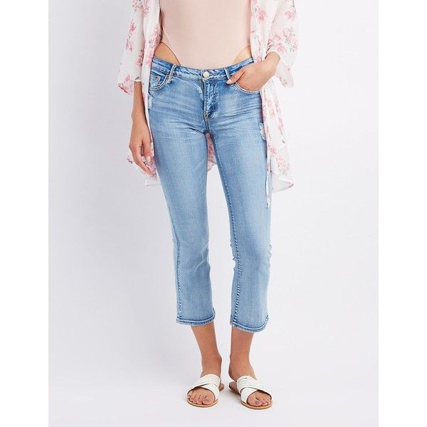Charlotte Russe Destroyed Cropped Skinny Jeans ($20) ❤ liked on Polyvore featuring jeans, indigo, ripped skinny jeans, denim capris, distressed skinny jeans, blue jeans and distressed denim capris