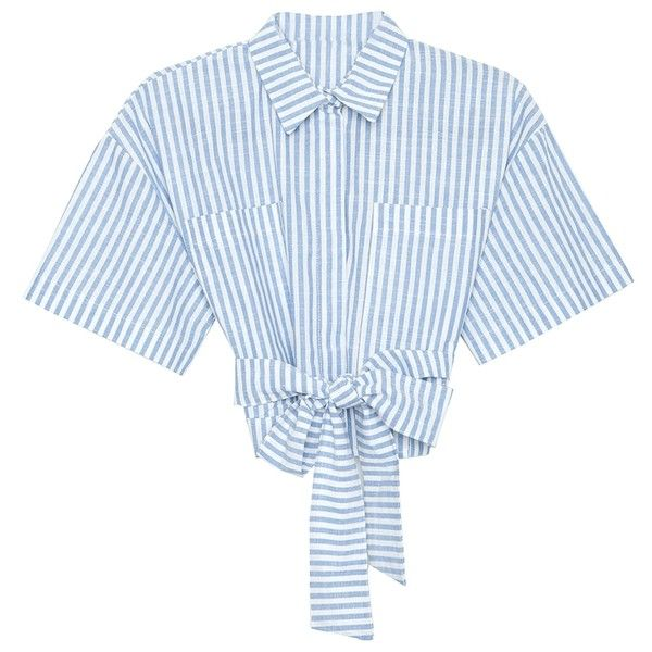 Tie Waist Stripes Shirt ❤ liked on Polyvore featuring tops, blouses, shirts & blouses, blue shirt, button front shirt, blue short sleeve shirt and blue linen shirt
