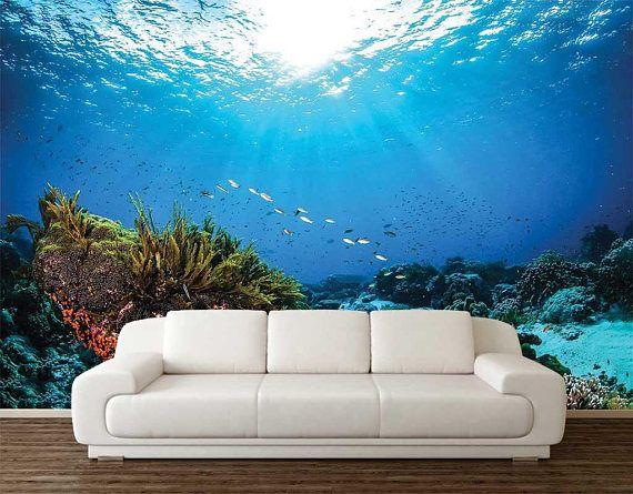 Underwater Wall Decal Romantic Wallpaper Ocean Wallpaper Etsy Romantic Wallpaper Ocean Wallpaper Wallpaper
