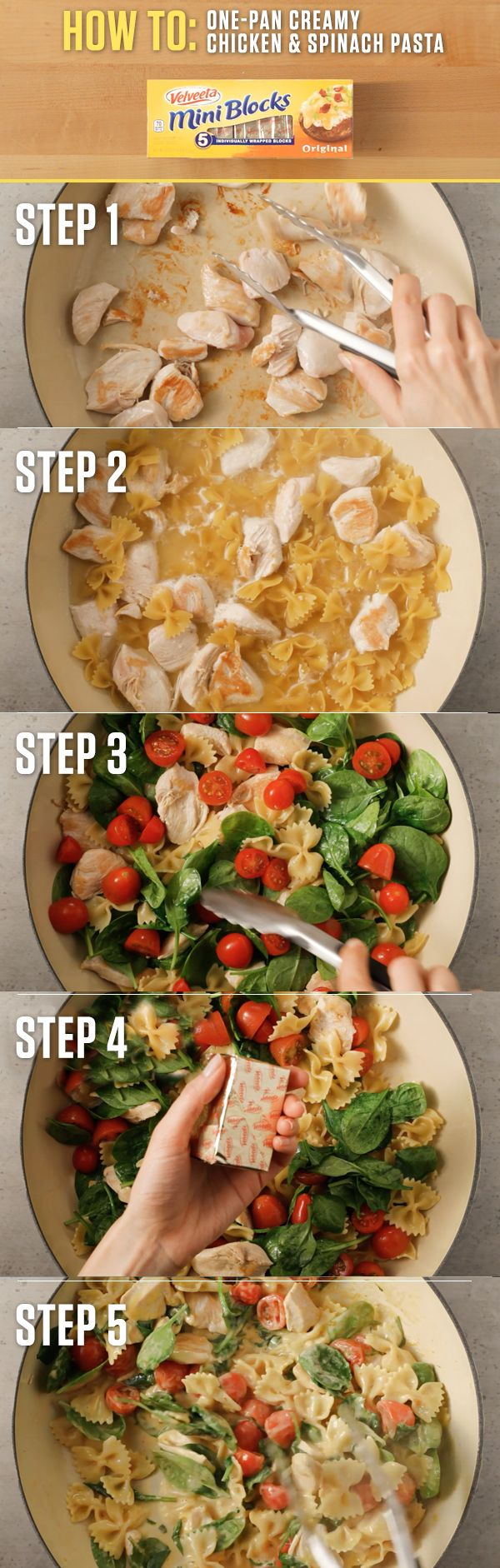 The delightful creaminess of VELVEETA kicks this Chicken and Spinach Pasta over the top with it's cheesy decadence. Get the full Liquid Gold recipe and more at http://www.kraftrecipes.com/velveeta.aspx