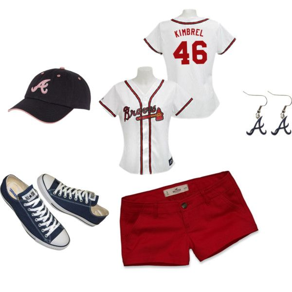 Braves game; PERF! minus the shoes. and the earrings. and i'd probably do a bow instead of the hat. and not shorts from hollister. but...the jersey is perf!