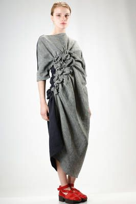 Elisa Wild | long and asymmetric dress in cotton and linen mat in two different colour | #elisawild