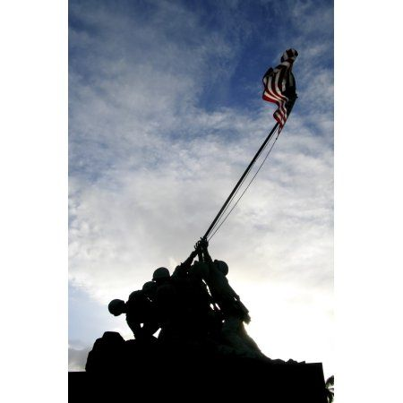 Silhouette of the Iwo Jima statue Canvas Art - Michael WoodStocktrek Images (12 x 17)