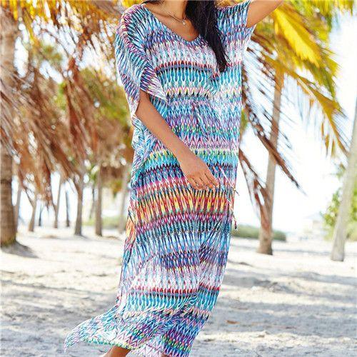 New Arrivals Beach Cover up Floral Romantic Swimwear Ladies Striped Beach Cape Sun Bath Beach Wear Dress Chiffon Swimwear #Q98
