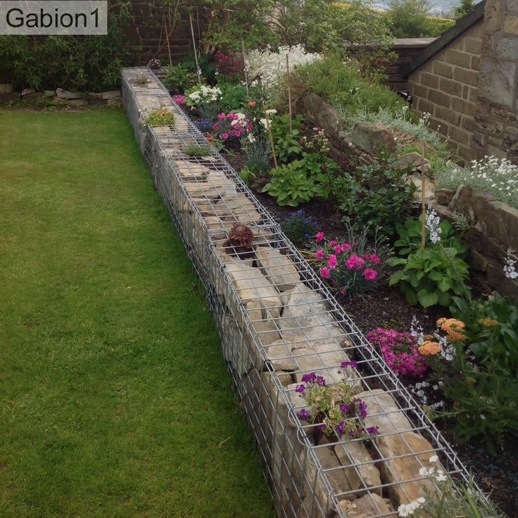 gabion garden border wall using 450mm tall x 300mm thick on border wall id=72275