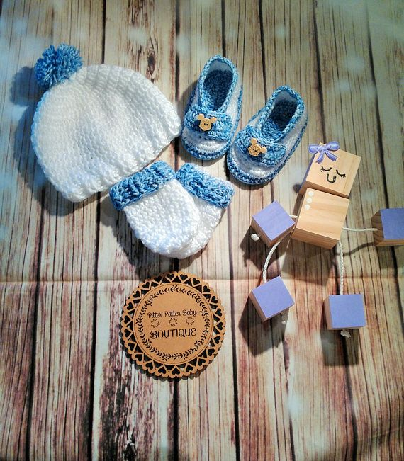 3 Piece Baby Boys Crochet White And Blue Beanie Mittens And