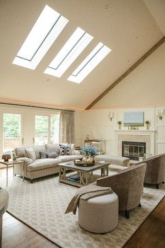 three skylights in living room LIVING ROOM - eclectic - living room - new york - BELLA INTERIORS - Jill Kalman