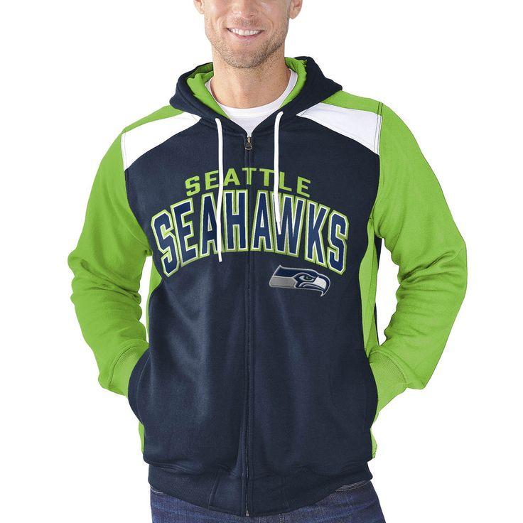 4dc8827f2 ... Pullover Hoodie Mens Seattle Seahawks G-III Sports by Carl Banks Navy  Kickoff Full Zip Hoodie ...