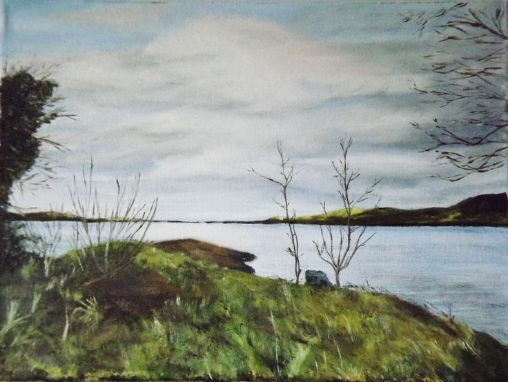 A view of Lough Derg  Oil on Canvas 12 X 16