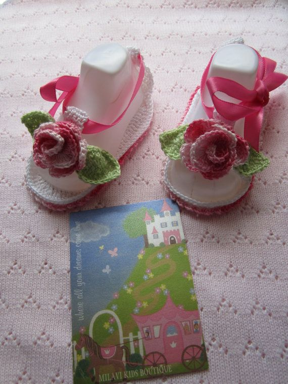 Crochet Baby sandals Crochet baby girl booties by MILAVIKIDS