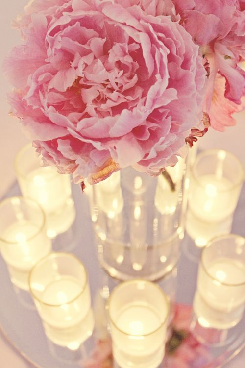 Peony centerpiece with candles