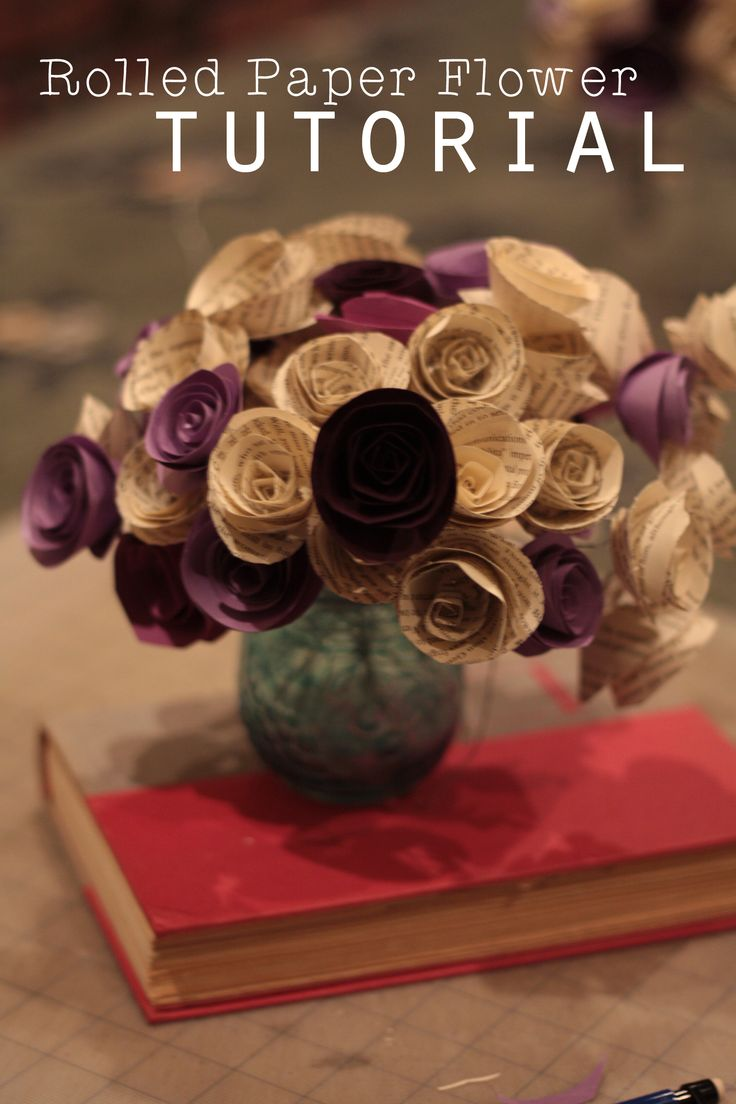 27 best book page flowers images on pinterest flowers marriage rolled paper flower tutorial using book pages dhlflorist Image collections