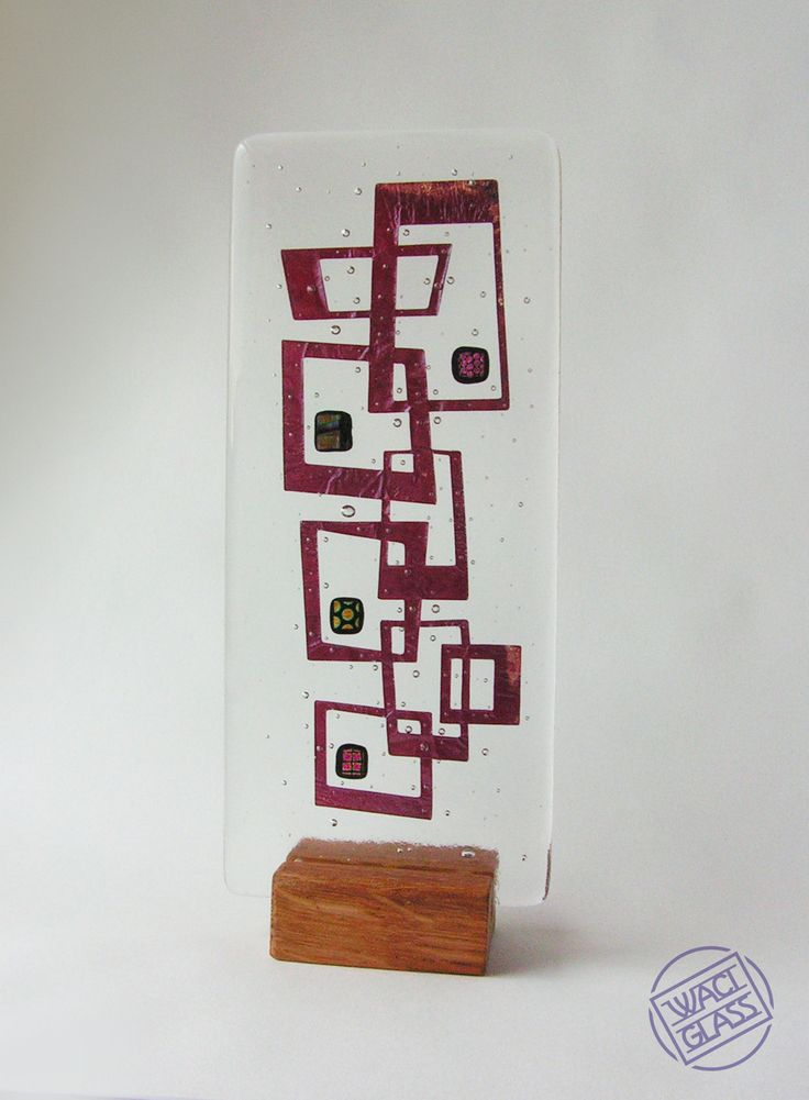Fused Glass, Dichroic Glass, Copper in Oak Stand. Funky 60s/70s style by Waci Glass