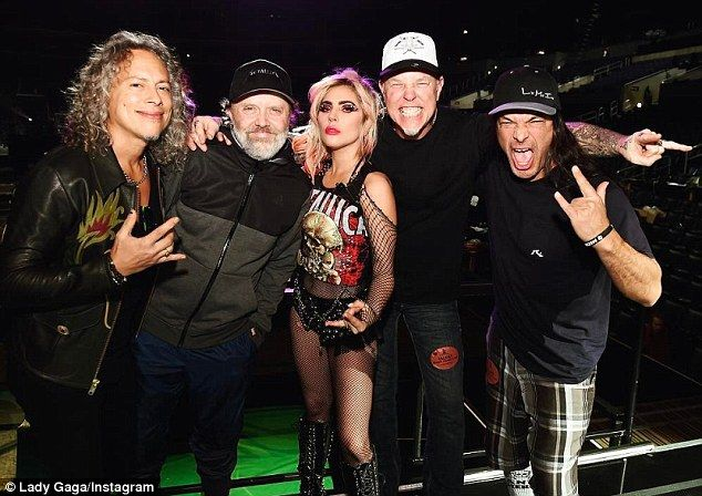 Haning with the band: Gaga captioned this shot, 'Gonna listen to Metallica all day and par...