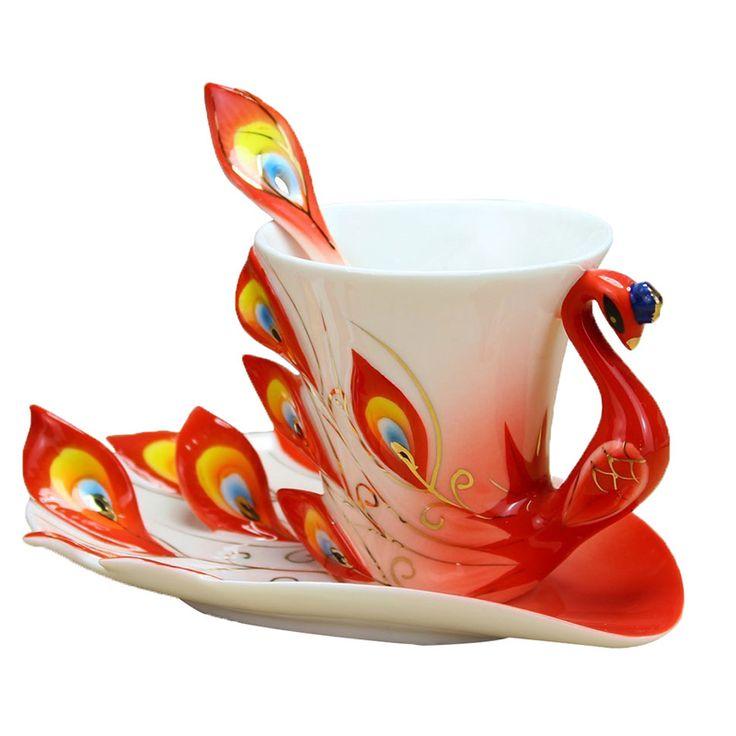 3D Peacock Coffee Mug with Saucer Spoon Set Creative China Ceramic Tea Cups 200ml Home Arts Collection Wedding Birthday Gifts