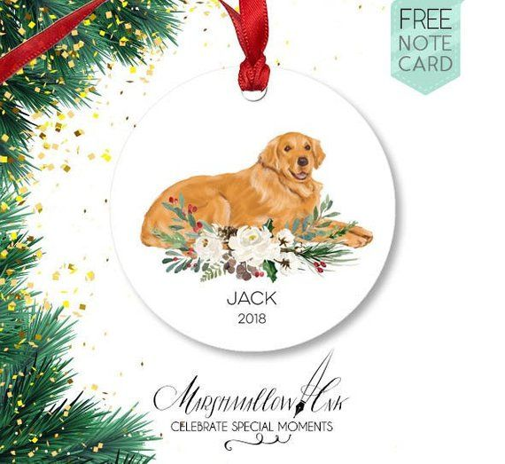 Golden Retriever Gifts Christmas Ornament Custom Dog Name Golden