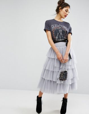 ASOS Tulle Midi Skirt with Tiers and Tie Waist Detail