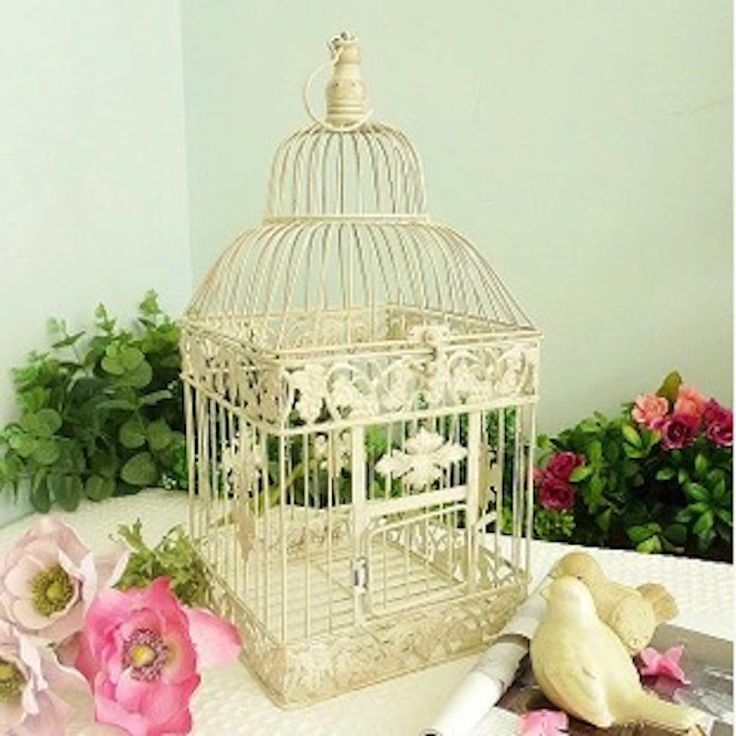 Sangkar burung putih mode besar antik kandang burung hias klasik Birdcage besi untuk dekorasi pernikahan pengiriman gratis