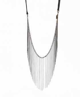 Antique bronze chain fringe necklace with black leather strap and buckle closure.