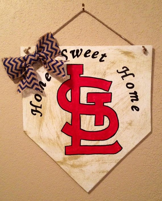 Home sweet home baseball home plate sign with arched letters and stl logo. st louis cardinals decor