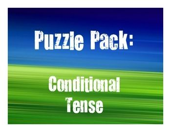 8 puzzles using the conditional tense in Spanish, plus color-coded answer keys!Includes:1 word search with conjugation clues1 crossword1 jumble3 sentence scrambles2 challenge puzzlesThis is a great lesson plan for a substitute day - the packet could easily keep students engaged for an hour, and it allows students to differentiate by choosing the kind of puzzle that works best for them.All puzzles have been solved and checked and used in real classes. :)This activity reviews Spanish…