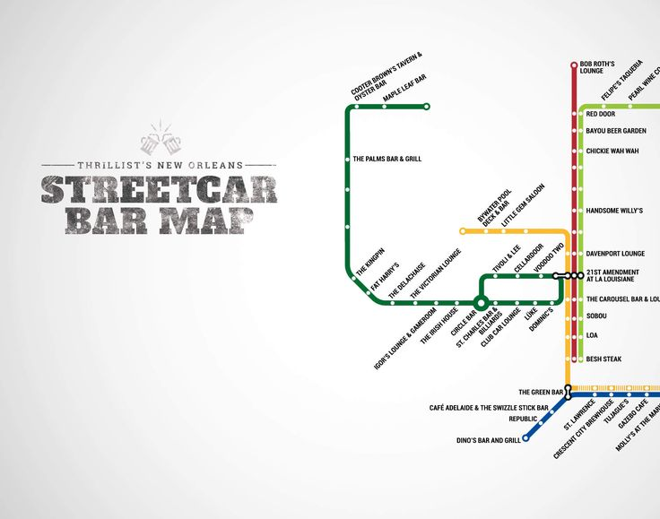 Streetcar In New Orleans Map.The Official New Orleans Streetcar Bar Map Now With The Rampart