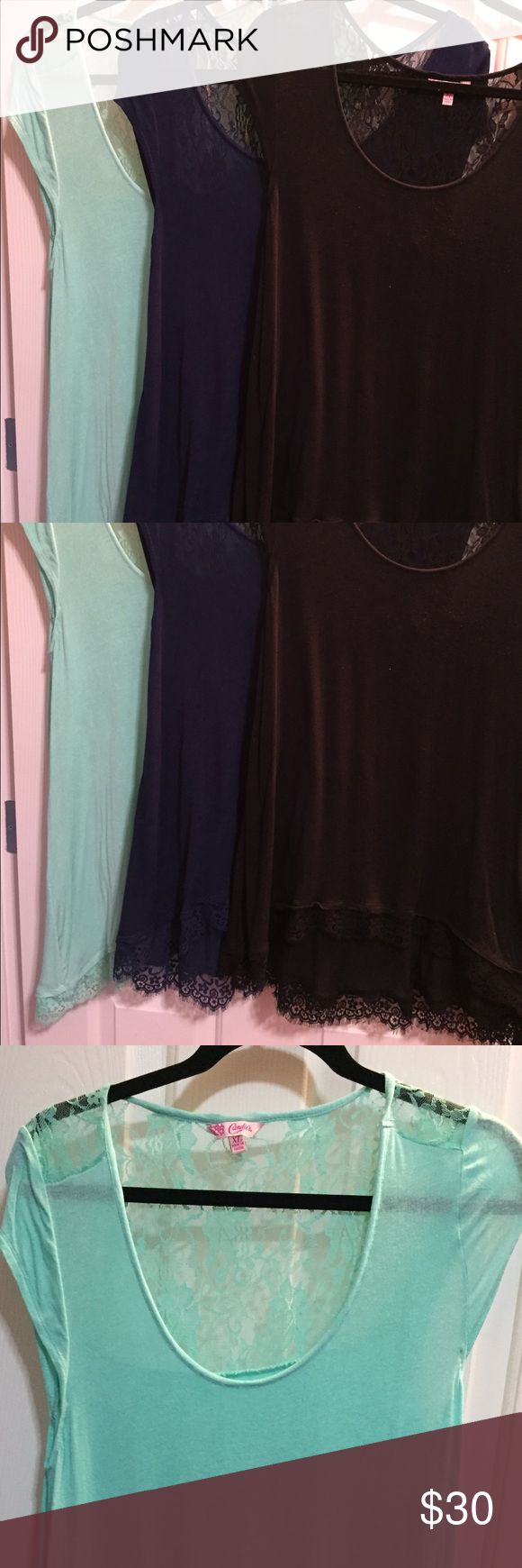 Candies Lace Tops/ Tunic for leggings size XL 3 size XL Candie's tops/tunics that pair great with leggings. Lace top and Lace bottom. Aqua, navy & black. Smoke free and clean. Take all 3 home! Make an offer! Candie's Tops