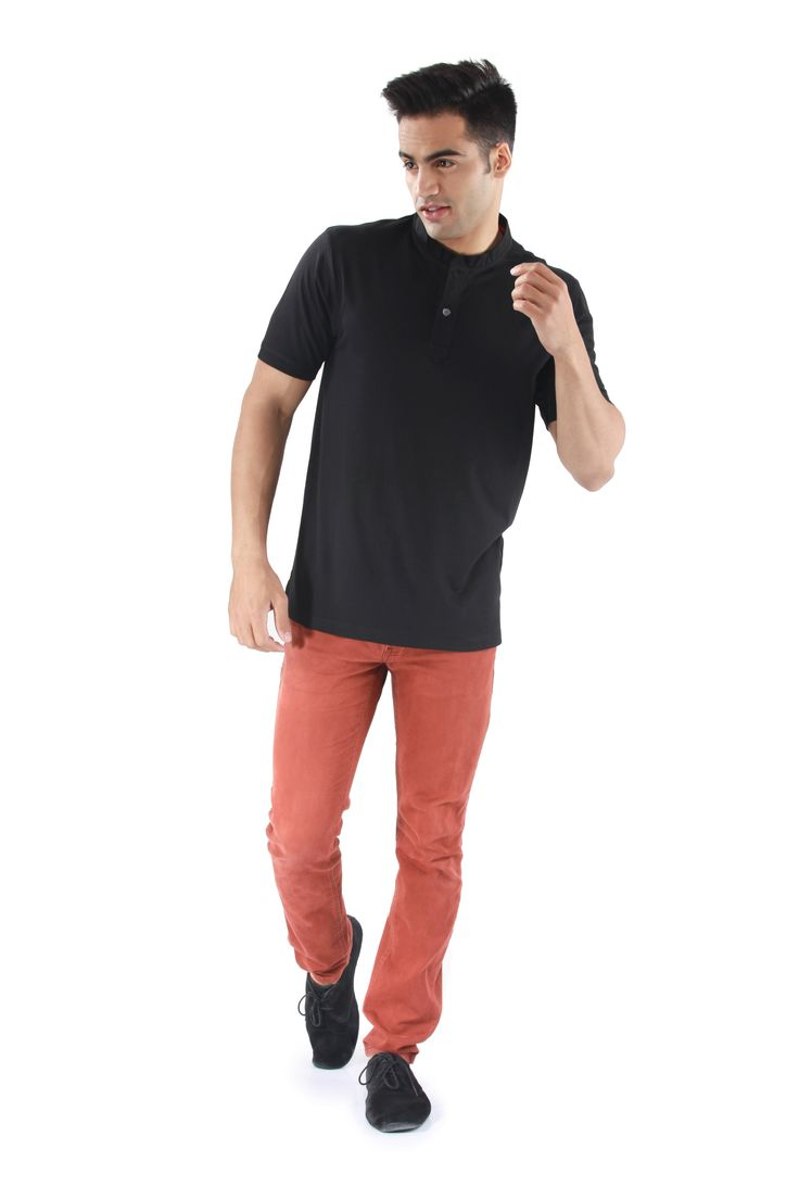 MUDO Solid Black Henley with round neck