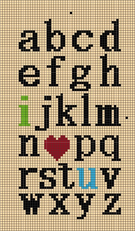 I love You abc perler bead pattern