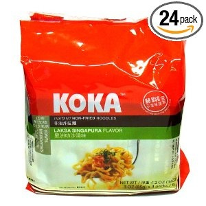 These are great!       1) No MSG! 2) Not Fried!    The black pepper flavor is good if you don't feel adventurous. The Laksa Singapore noodles here are kinda like tom ka (a spicy fish + coconut flavor)