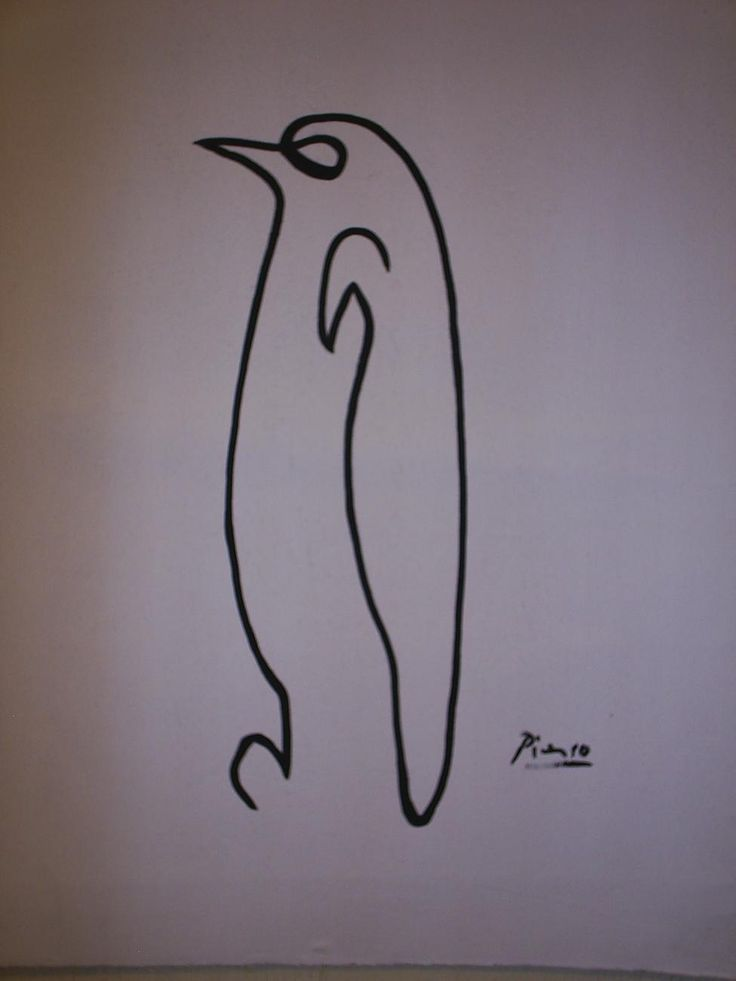 Line Drawing Picasso Tattoo : Picasso penguin as a tattoo with words the line i