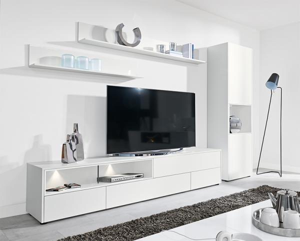 Modern wall storage system in matt white TV unit & tall cabinet