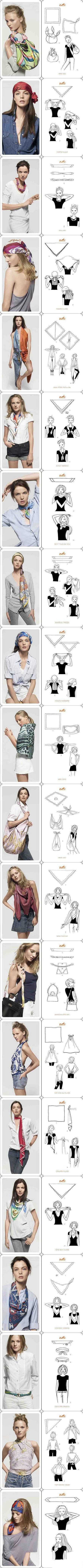 Every single way to use a scarf. Love the first top, and the handbagstrap!