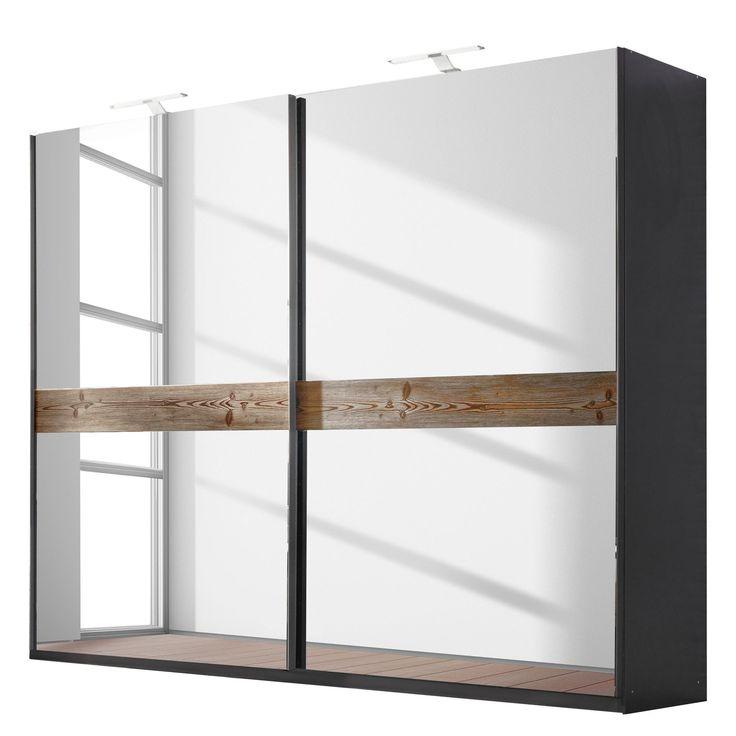 Schwebetürenschrank Montreal - Lärche Natur Dekor/ Graphit - 181 cm (2-türig), Rauch Select