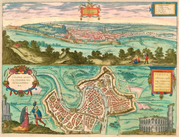 Old, antique map - Bird's-eye view and plan of Verona by Braun and Hogenberg. | Sanderus Antique Maps