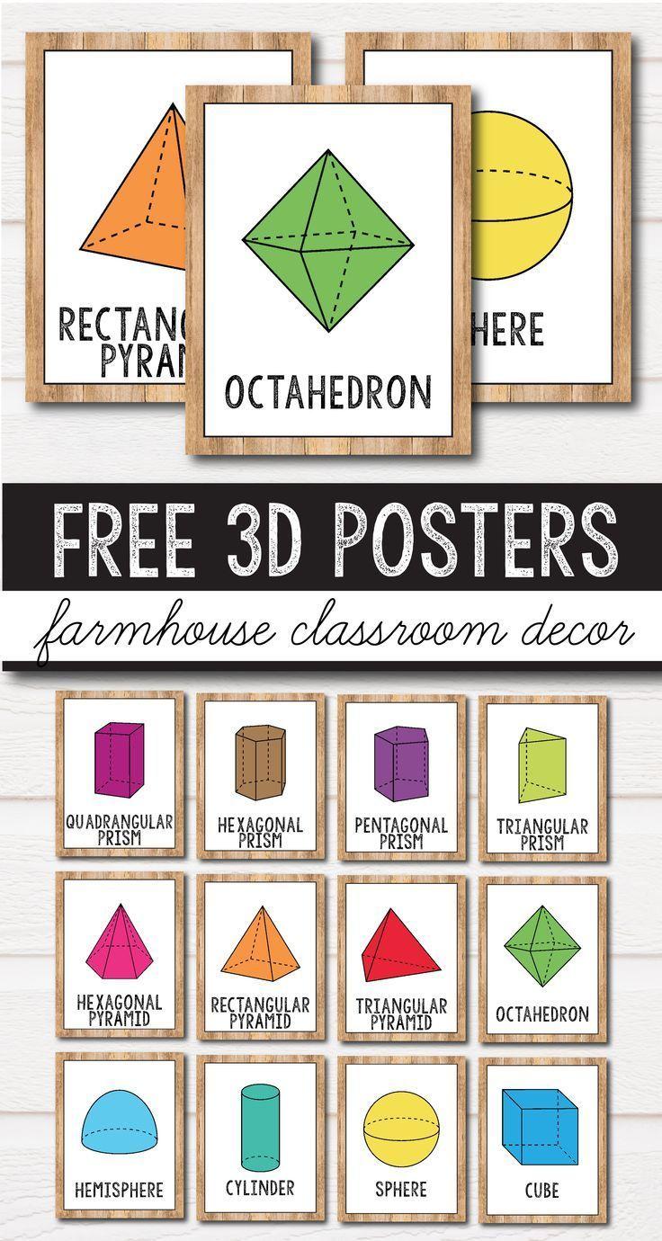 Free 2d Shape Posters 3d Shape Posters Farmhouse Classroom Decor Shape Posters 3d Shape Posters Free Classroom Decor