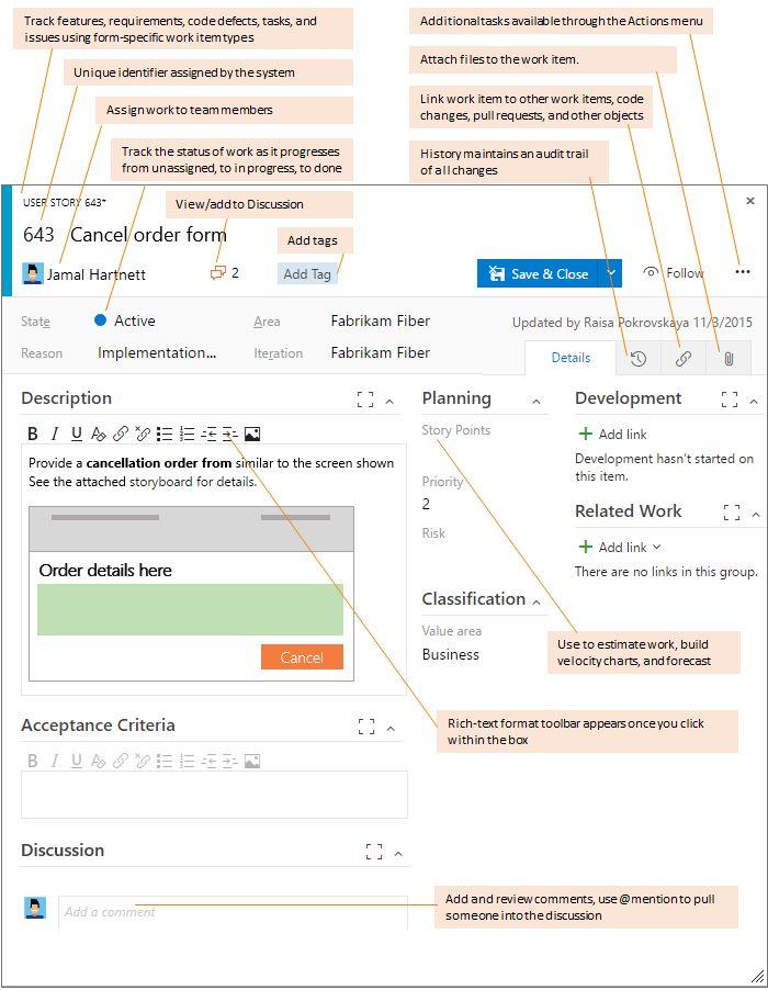 user story work item form