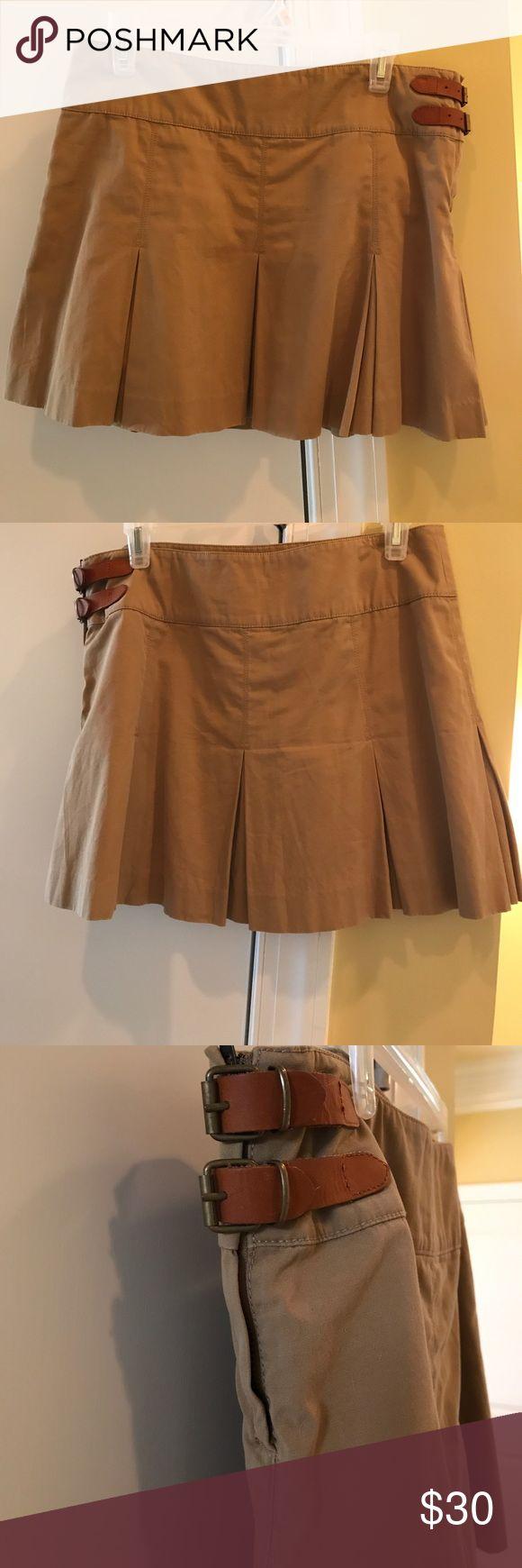 Ralph Lauren pleated khaki skirt Ralph Lauren pleated khaki skirt with buckles at the hip. 15 inches in length Ralph Lauren Skirts Mini
