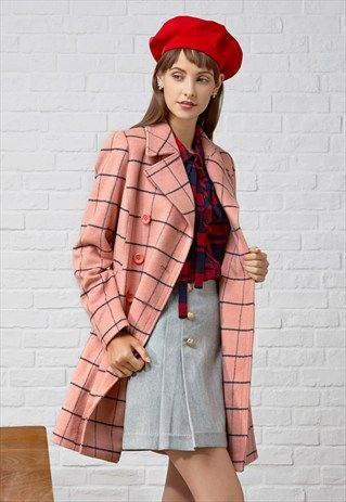 CHECKER WOOL-BLEND COAT