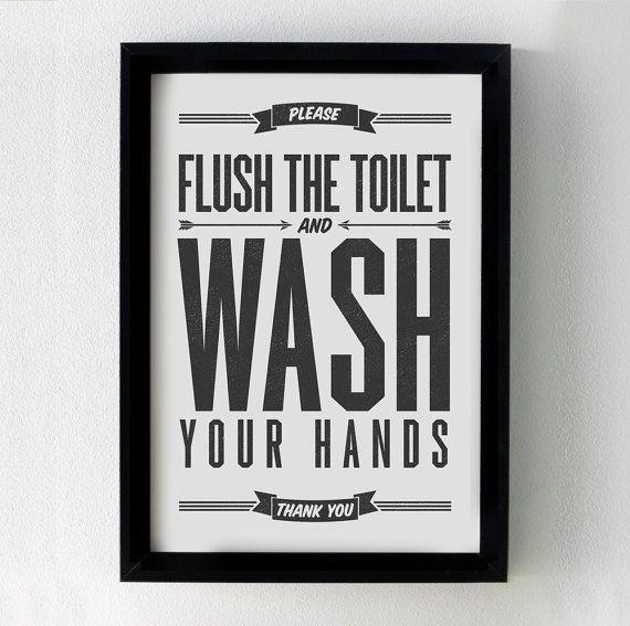 Flush Sign, Bathroom Decor, PRINTABLE Art, Flush Toilet