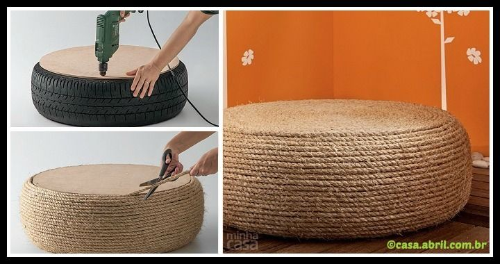 If you love DIY, take a look at this awesome Ottoman from old tire tutorial. Grab the tools (a tire, rope, screws, glue) and start a cool project!