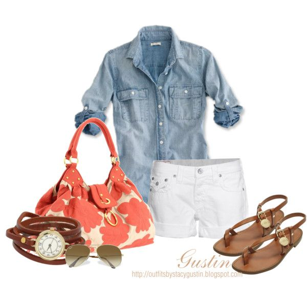 Coral and Blue: White Shorts, Summer Outfit, Dreams Closet, Summer Looks, Summer Style, Denim Shirts, White Jeans, Polyvore Fashion, Summer Clothing