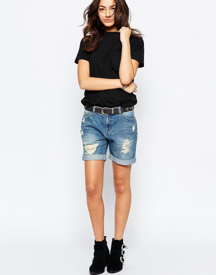 J.D.Y+Destroyed+Boyfriend+Denim+Shorts