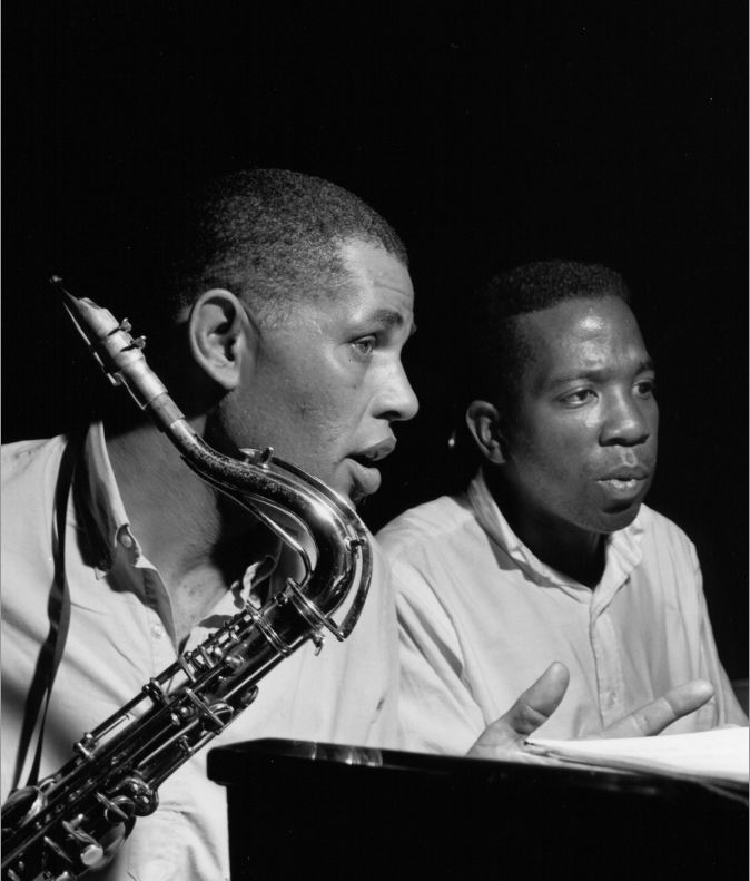 Dexter Gordon and Sonny Clark during the recording of Gordon's A Swingin' Affair session, Englewood Cliffs NJ, August 29 1962 (photo by Francis Wolff)