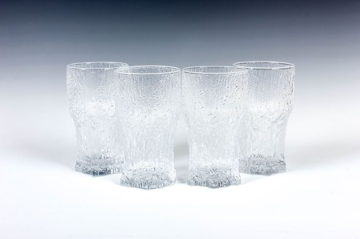"4 Aslak Highball Glasses - 5.5"" - Tapio Wirkkala - Iittala Finland - Danish Modern - Mid Century - Finnish Glass by ThePapers on Etsy"