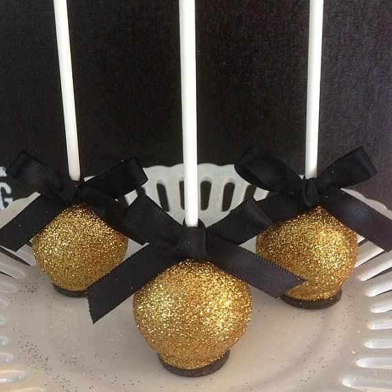 12 Gold 50th Anniversary New Years Eve Cake Pops Black Tie Affair Golden Birthday Party Favor Retirement Wedding