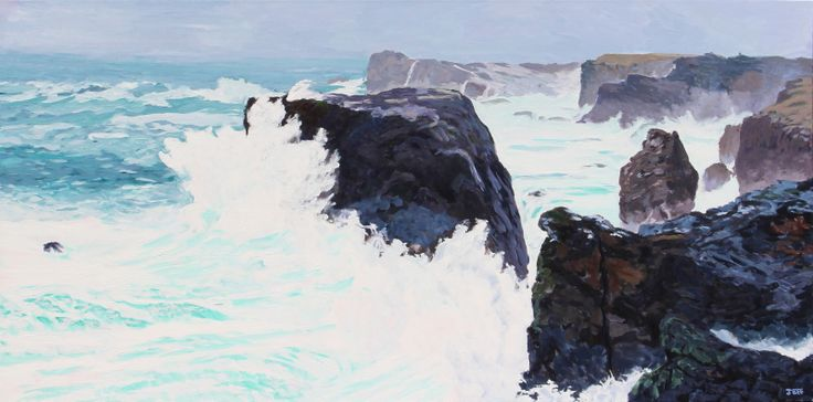 Moo Stack and the Wave Acrylic on canvas 36x72 inches June 2014  The Eshaness cliffs form the western edge of Northmavine, part of the Shetland mainland. I have never seen waves like these before, and the challenge has been to capture the force and power of nature exhibited here. The other aspect here is that the sea has an unusually light colour, often a light emerald green.