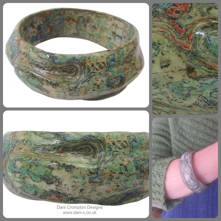 Layers of paper carefully carved to release its inner beauty. Smooth and curvacious, it flows like water which is enhanced by the turquoise, blues and greens showing through its many layers. This is a one of a kind carved paper bangle Material: Paper Interior diameter: approx - 6.5cm to 7cm Width: approx - 2.5cm - 3cm  Price: £75 #DaniCromptonDesigns www.dani-c.co.uk