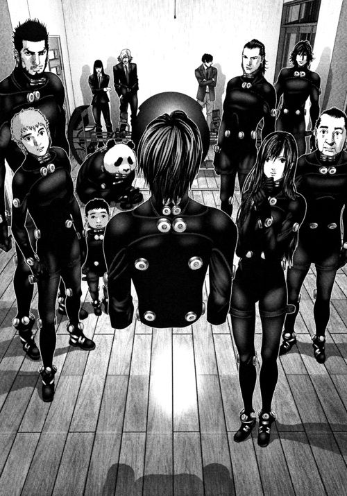GANTZ, yes it's just as weird as it looks. The anime has a fantastic opening song. The manga though has the better story. - See more anime at: www.cartoonanimefans.com
