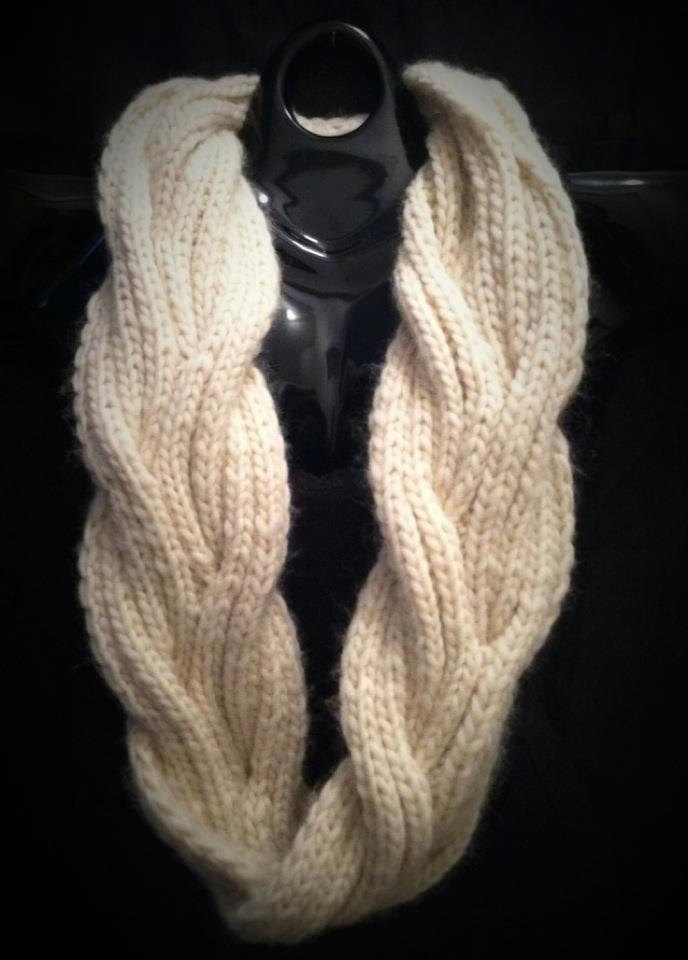 Chunky Knit Infinity Scarf With Reversible Cable Pattern